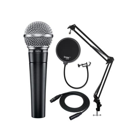 Shure SM58-LC Vocal Microphone with Boom Arm, Pop Filter and XLR Cable
