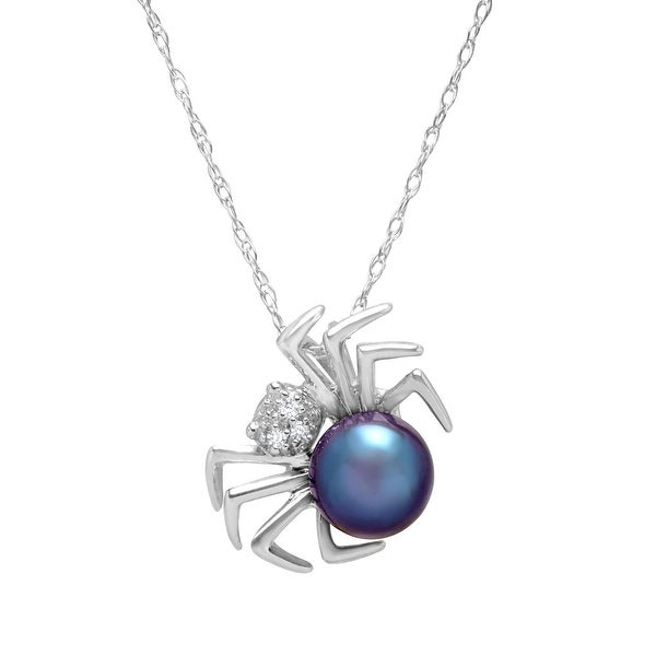 6 mm Freshwater Black Pearl Spider Pendant with Diamonds in 14K White Gold