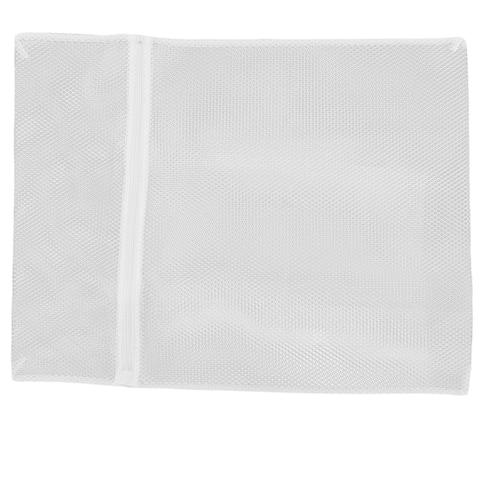 Mesh Zipper Closure Underwear Clothes Washing Laundry Bag 50 x 60cm - White
