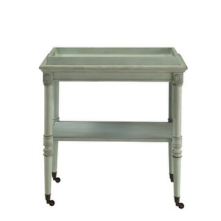 Tray Table In Antique Green - Mdf, Solid Wood Leg Antique Green