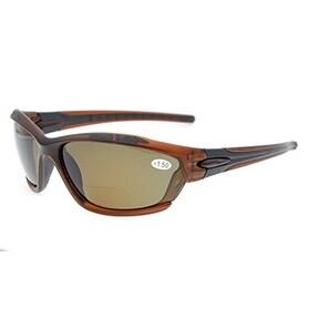Eyekepper TR90 Unbreakable Sports Bifocal Sunglasses Brown Frame Brown Lens +1.0