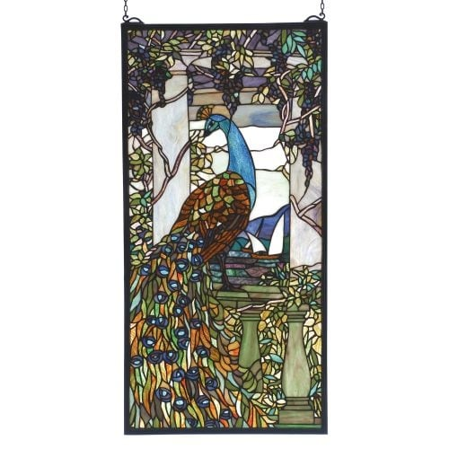 Meyda Tiffany 70519 Stained Glass Tiffany Window from the Peacocks Collection