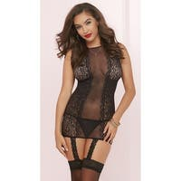 Sheer Floral Bodystocking Dress, Sheer Bodystocking Dress - Black - One Size Fits most