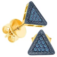 Prism Jewel 0.10CT Round Blue Color Diamond Triangle Shaped Push Back Stud Earring