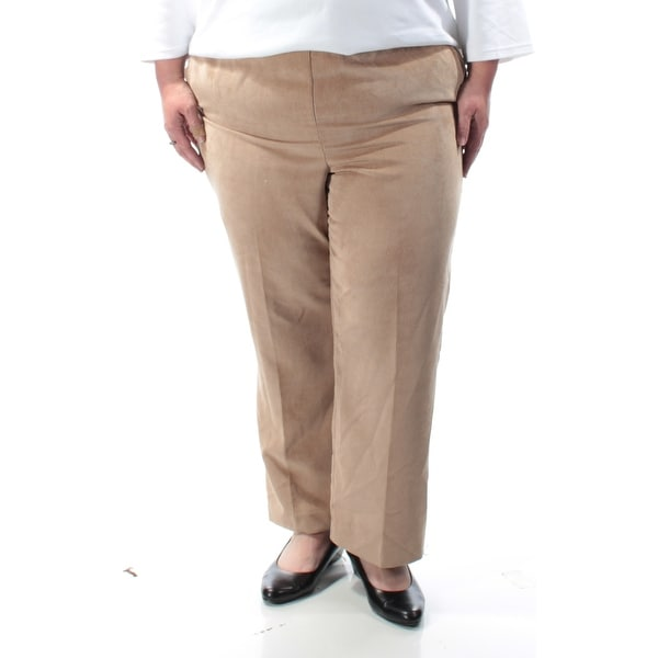 Womens Beige Wear To Work Straight leg Pants Plus Size 18