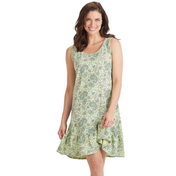 "Prairie Cotton Paisley Flounce Dress - Sleeveless with 36"" Length Ruffle Hem"