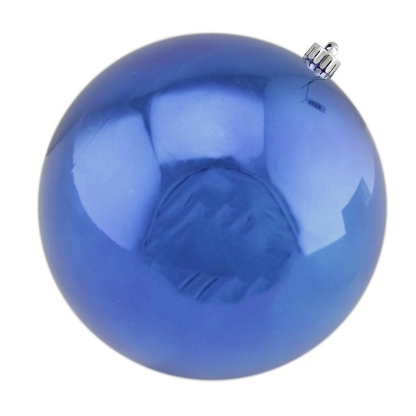 "Shiny Blue UV Resistant Commercial Drilled Shatterproof Christmas Ball Ornament 10"" (250mm)"