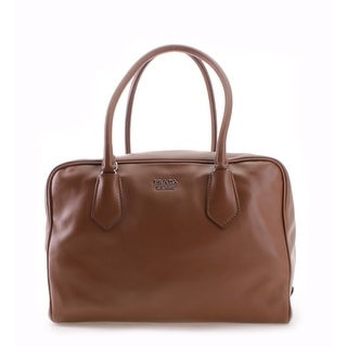 Prada Soft Calf Leather Inside Bag Shoulder Handbag - Brown - M