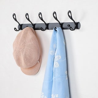 Dual Wall Hooks Stainless Steel Base 17.7 Inch 5 Hooks Cloth Towel Holder Black