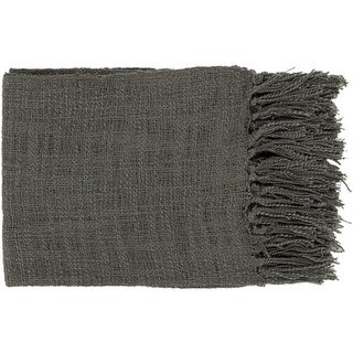 """59"""" x 51"""" Warm Weaves Charcoal Gray Fringed Throw Blanket"""