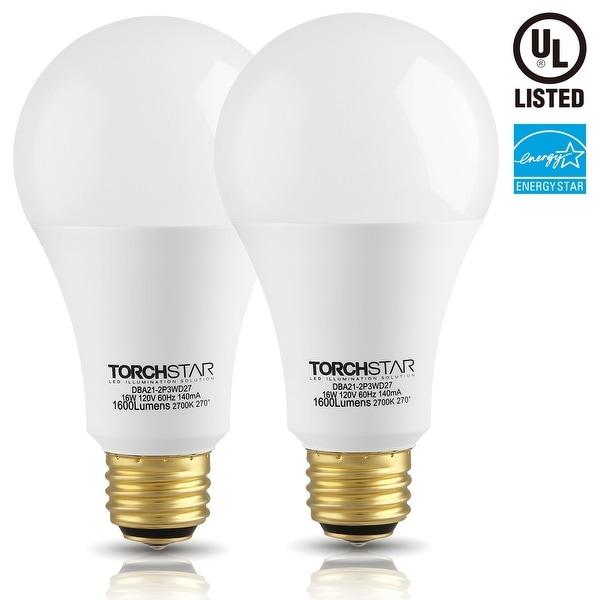2 PACK 3-Way LED A21 Light Bulb, ENERGY STAR + UL-listed, 2700K Soft White/5000K Daylight