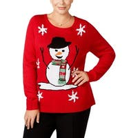 Karen Scott Womens Plus Holiday Pullover Sweater Embellished Snow Man