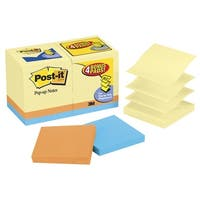 Post-it Pop-Up Original Notes Value Pack, 3 x 3 in, Assorted Colors, Pad of 100 Sheets, Pack of 18