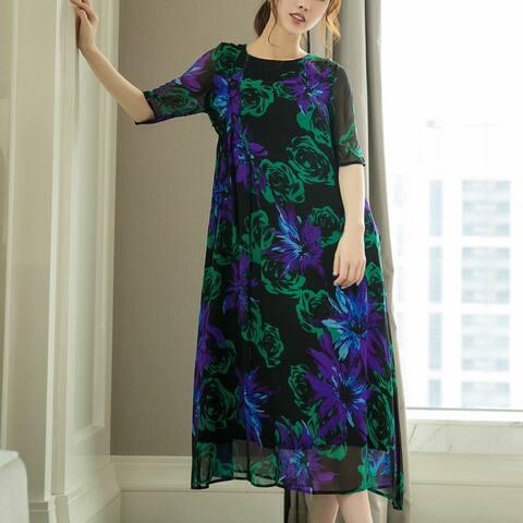 New High-End Round Neck Slim Silk Dress