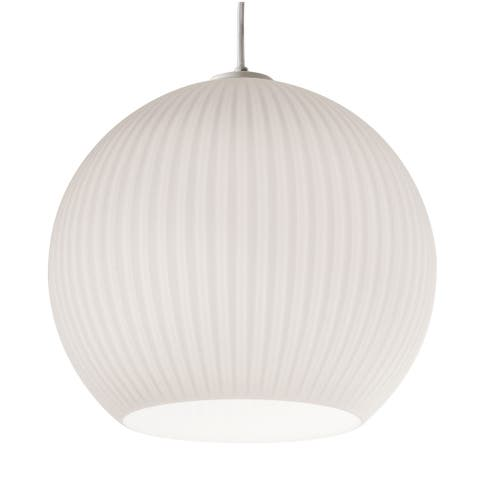 Cleo 1-light White Pendant, Frosted Ribbed White Glass Shade