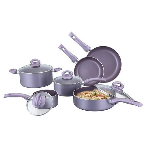 Culinary Edge CE20210 10-Piece Cookware Set, Purple