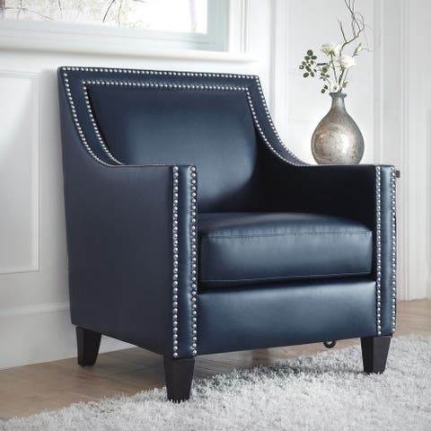 Copper Grove Rab Leather Nailhead Armchair