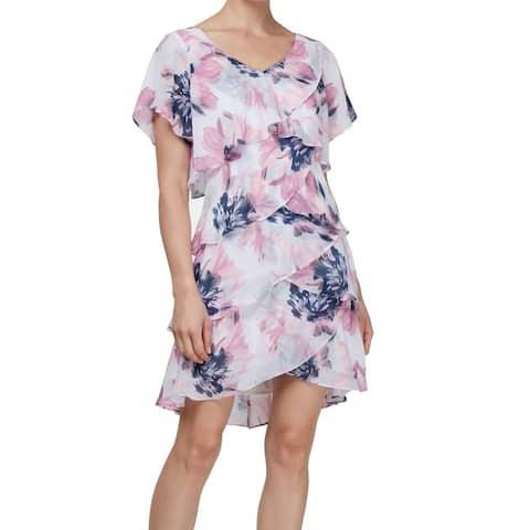 SLNY Womens Shift Dress Pink Size 14 V-Neck Floral Tiered Chiffon