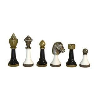 Black & White Metal Chessmen - Multicolored