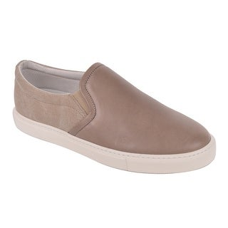 Brunello Cucinelli Mens Light Brown Leather Canvas Slip On Sneakers