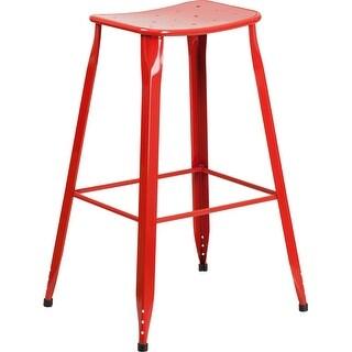 Brimmes 30'' High Red Metal Indoor/Outdoor/Patio/Bar Barstool