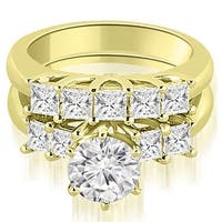 1.50 cttw. 14K Yellow Gold Princess and Round Cut Diamond Engagement Bridal Set