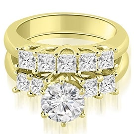 1.75 cttw. 14K Yellow Gold Princess and Round Cut Diamond Engagement Bridal Set