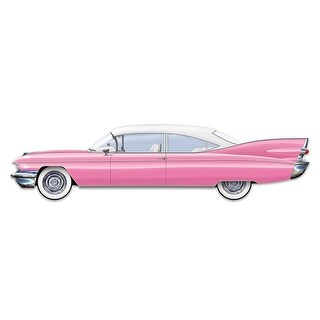 """Club Pack of 12 Pink and White Jointed Classic 50's Cruisin' Car Party Decorations 6"""""""
