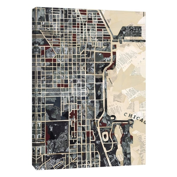 """PTM Images 9-105289 PTM Canvas Collection 10"""" x 8"""" - """"Chicago"""" Giclee Maps Art Print on Canvas"""