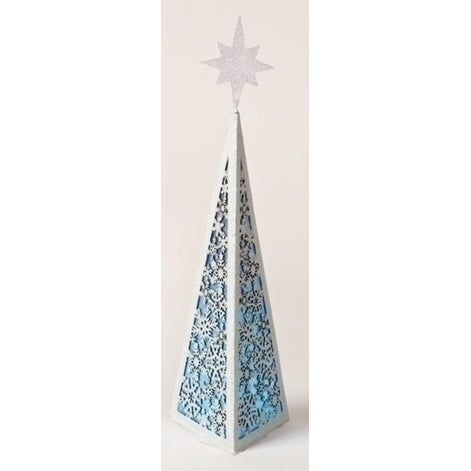 "15.5"" Battery Operated Color Changing Triangular Christmas Tree Facade with Snowflake Design - multi"