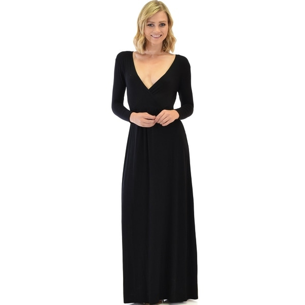 013818b0c5 Shop Sweetest Kiss Long Sleeve Black Maxi Dress-Black-Large - Free Shipping  Today - Overstock - 23109413