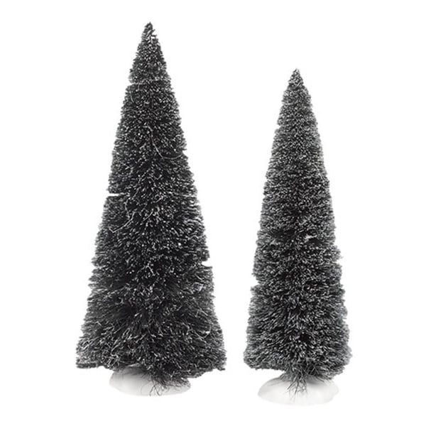 """Department 56 Snow Village """"Jumbo Frosted Sisal Trees"""" 2-Piece Accessory Set #4038839"""