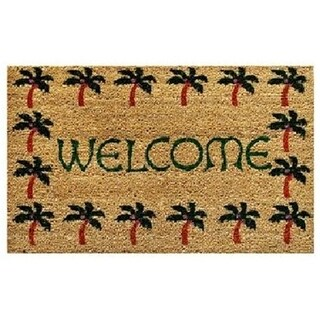 Home & More 12040 Palm Tree Border Welcome - Vinyl Back Mat - 18 X 30 Inches