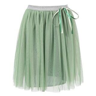 Richie House Little Girls Green Satin Taped Bow Skirt 3-6
