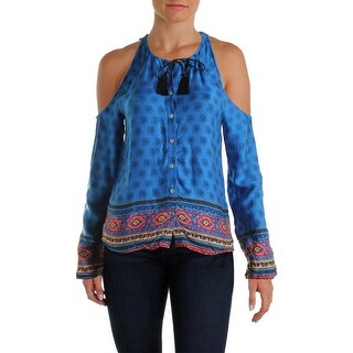 Minkpink Womens Gypsy Queen Blouse Printed Cold Shoulder