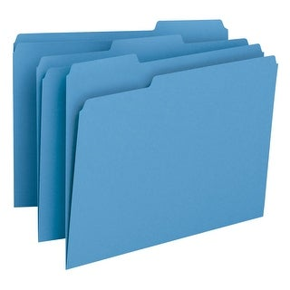 Smead 1/3 Cut 1-Ply Top Tab File Folder, Letter, Blue, Pack of 100