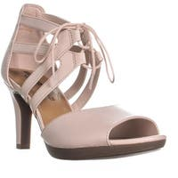 Clarks Adriel Elaina Lace Up Heel Covered Sandals, Dusty Pink
