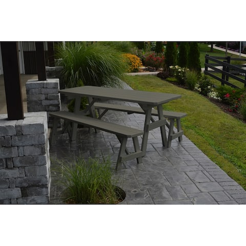 Pine 8' Traditional Picnic Table with 2 Benches