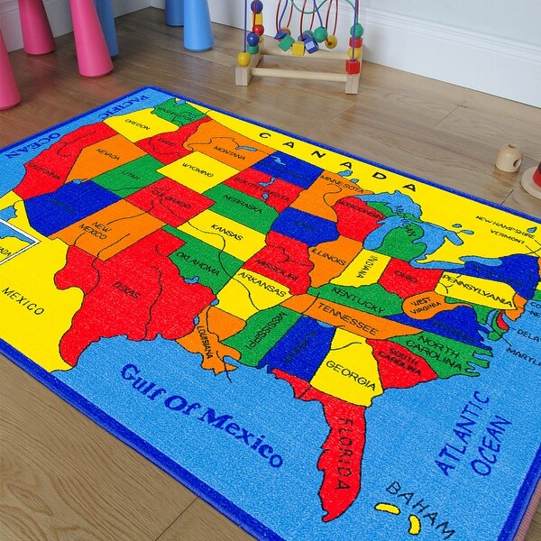 AllStar Rugs Kids Area Rug. USA Map. Fifty States. Bright