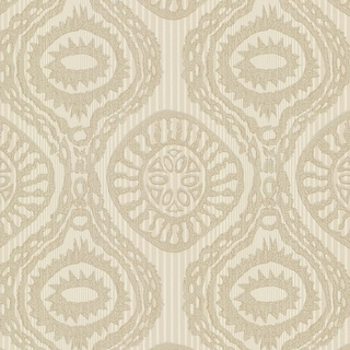 "Brewster HZN43033-SAM  8""x 10"" Sample of HZN43033 - Beige Medallion Stripe"