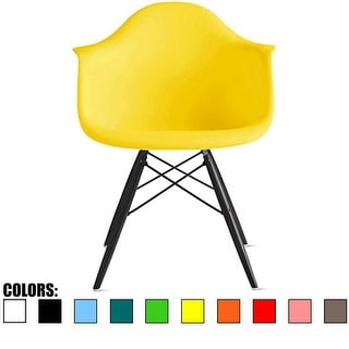 2xhome Yellow Eames Dining Room Arm Chair With Black Wooden Eiffel Style Legs