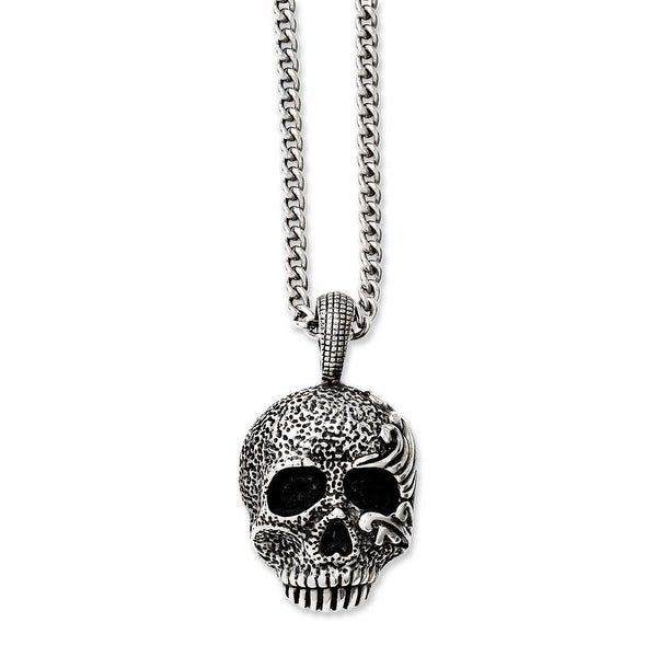 Chisel Stainless Steel Antiqued & Textured Skull 24in Necklace (4 mm) - 24 in