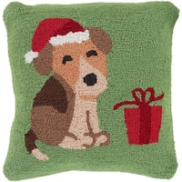 "18"" Tree Green and Cocoa Brown Puppy in a Santa Hat Christmas Throw Pillow Cover"