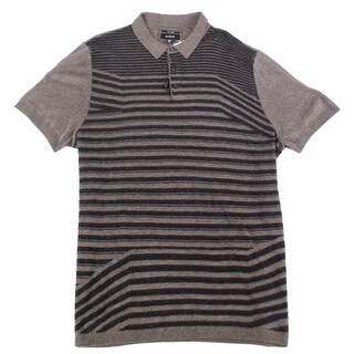 Alfani Mens Large Striped Polo Silk Blend Knit Shirt