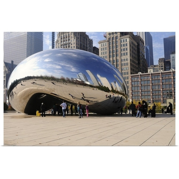 """The north loop Chicago skyline reflected in the Cloud Gate, Millennium Park"" Poster Print"
