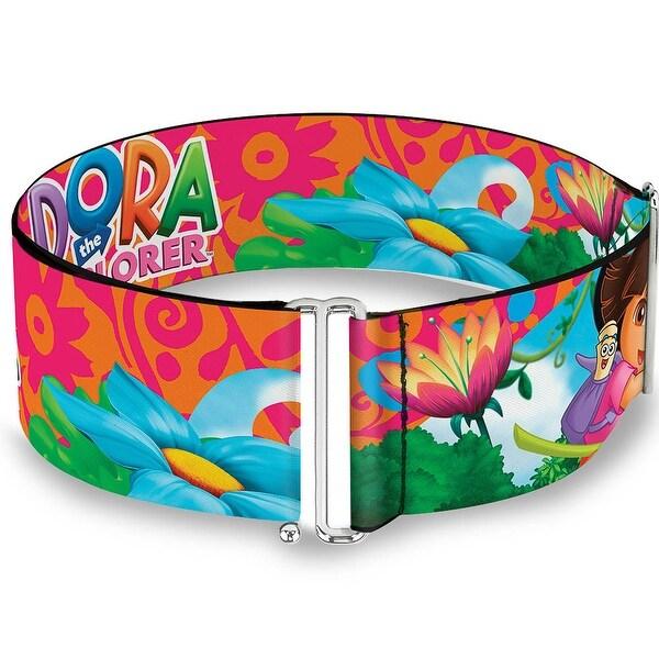 Dora The Explorer Dora Poses Floral Collage Orange Pink Cinch Waist Belt ONE SIZE