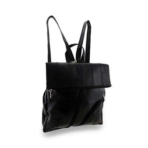 Soft Black Sheepskin Leather Backpack Sling Bag