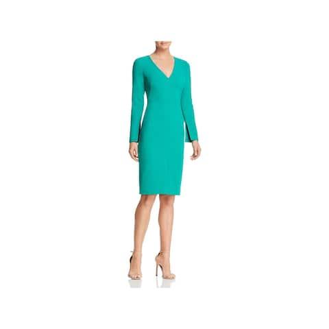 9bf9612e28 Black Halo Womens Wear to Work Dress Split Sleeve V-Neck