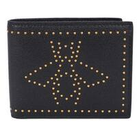 Gucci Men's 451176 Black Leather Studded Bee Design Bifold Wallet