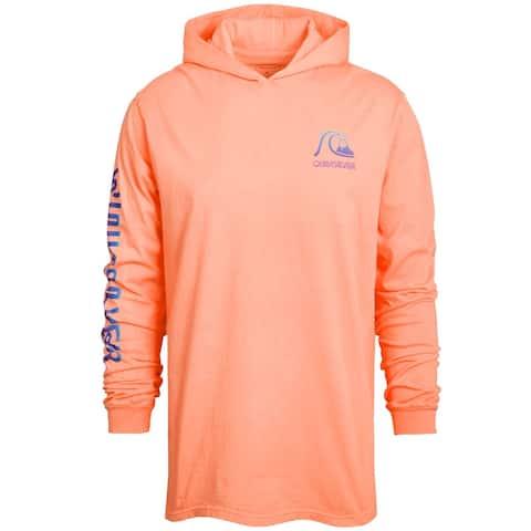 Quiksilver Men's Sweater Orange Size Large L Hooded Graphic Print